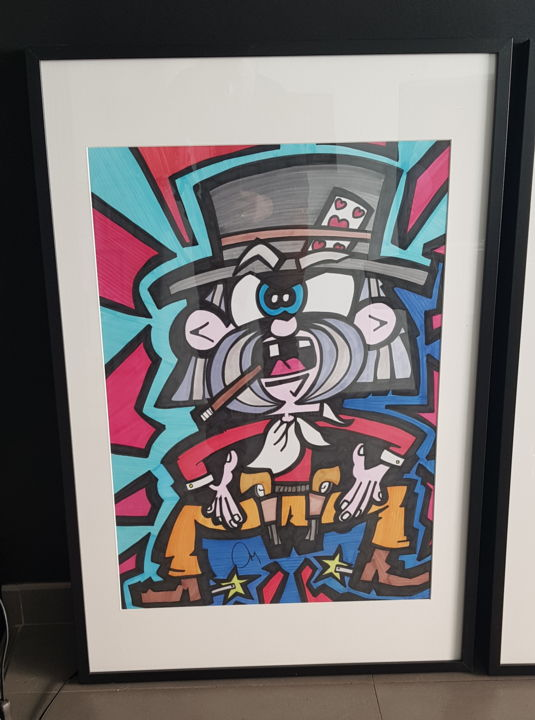 """Drawing titled """"The cowboy"""" by D-Art, Original Art, Ink"""