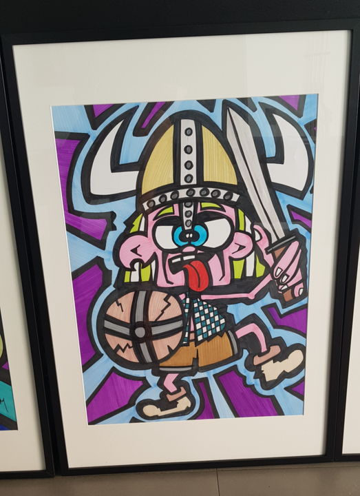 """Drawing titled """"The viking"""" by D-Art, Original Art, Ink Mounted on Wood Panel"""