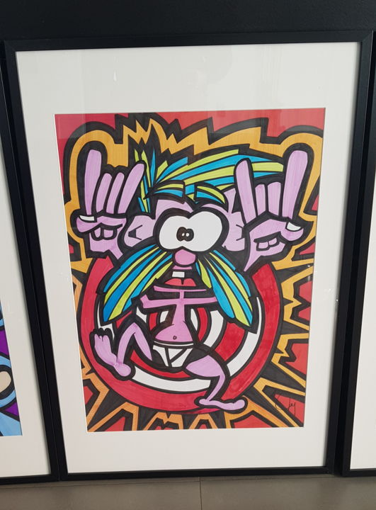 """Drawing titled """"MAN IN UNDERWEAR"""" by D-Art, Original Art, Ink Mounted on Wood Panel"""