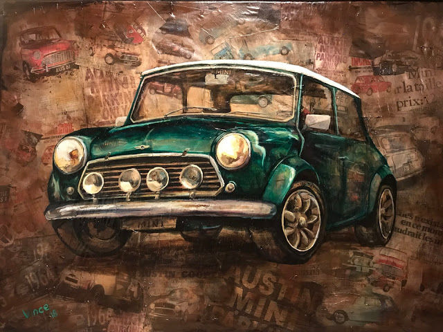 mini cooper - Painting,  70x90 cm ©2018 by Vincent Hénault -            austin mini, mini cooper, mini, austin, voiture de collection, vintage