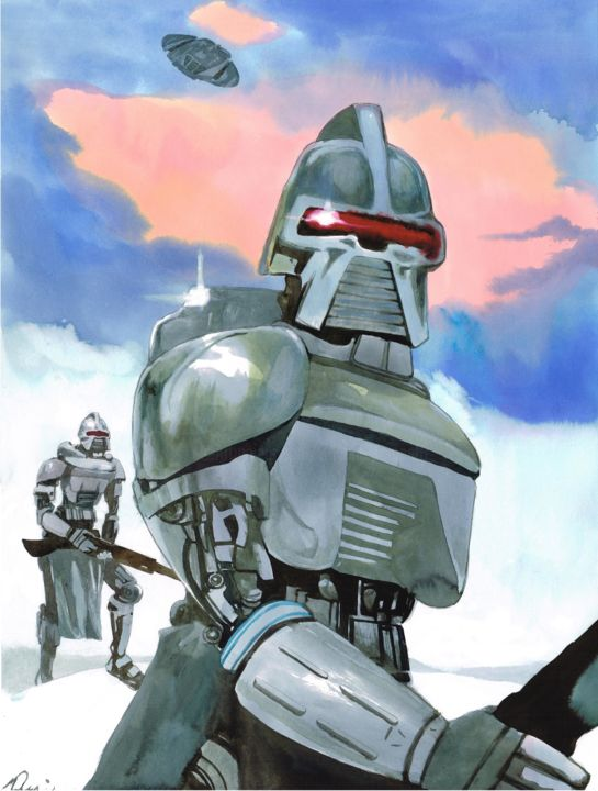 """Drawing titled """"Cylons"""" by Vincent Pompetti, Original Art, Ink"""