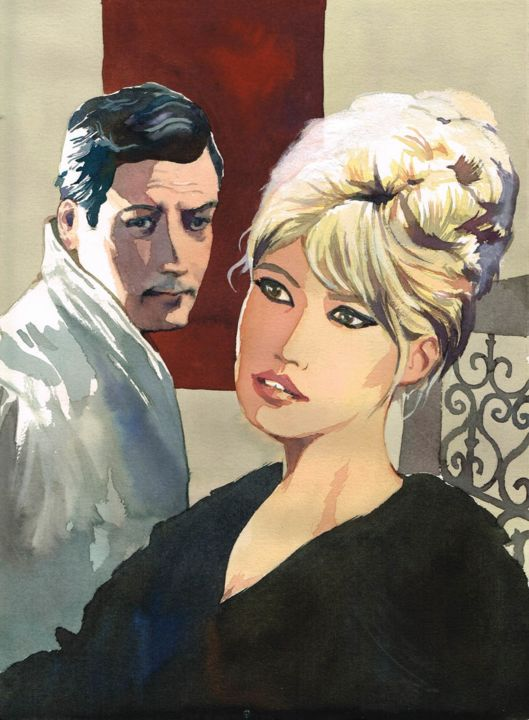 """Drawing titled """"Bardot et Mastroian…"""" by Vincent Pompetti, Original Art, Ink"""