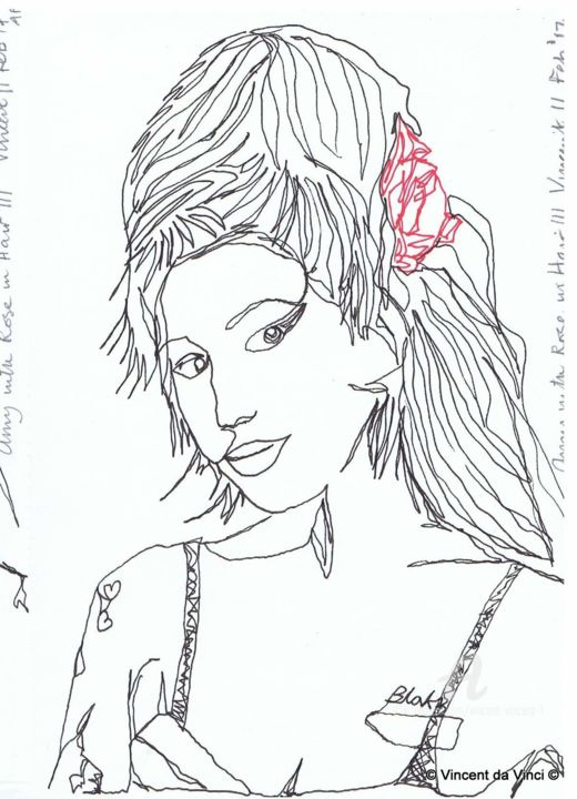 Drawing Project: Amy with Ribbon in her Hair - Drawing,  20x15x0.1 cm ©2017 by Vincent da Vinci -                                                                                                                                                            Abstract Art, Conceptual Art, Figurative Art, Illustration, Pop Art, Portraiture, Paper, Abstract Art, Celebrity, Pop Culture / celebrity, Portraits, drawing, singleline, amy winehouse