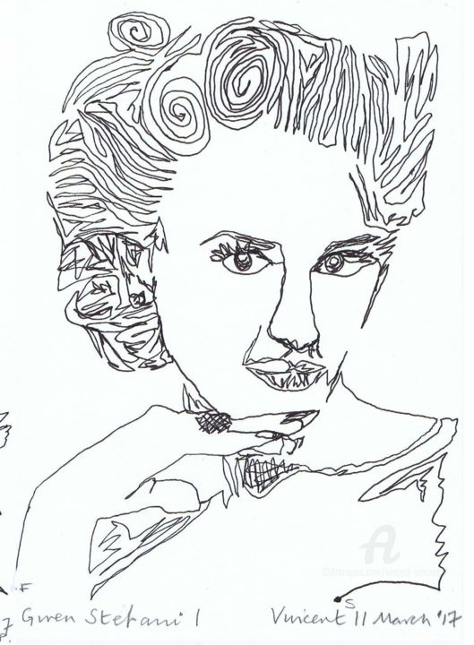 Drawing Project: Gwen Stefani I - Drawing,  20x15x0.1 cm ©2017 by Vincent da Vinci -                                                                                                                                                                    Abstract Art, Conceptual Art, Figurative Art, Illustration, Modernism, Pop Art, Paper, Abstract Art, Celebrity, Music, Pop Culture / celebrity, Portraits