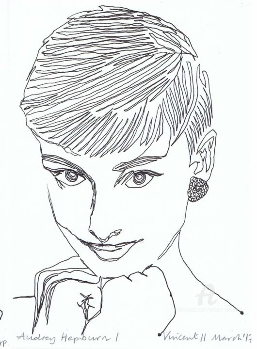 Drawing Project: Audrey Hepburn I - ©   Online Artworks