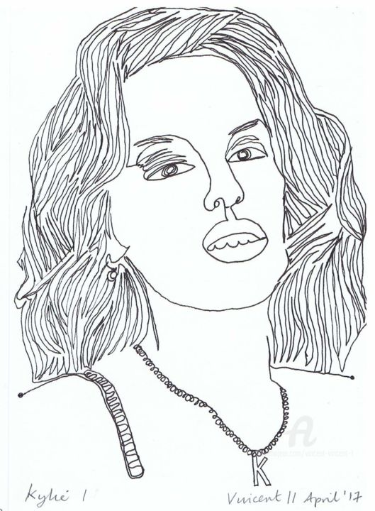 Drawing Project: Kylie Minogue - Drawing,  21x15x0.1 cm ©2017 by Vincent da Vinci -                                                                                                                                                        Abstract Art, Conceptual Art, Figurative Art, Illustration, Pop Art, Portraiture, Paper, Abstract Art, Celebrity, Pop Culture / celebrity, Portraits
