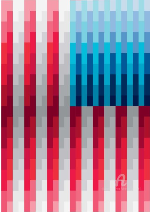 American Flag (Drapeau Américain) - Digital Arts,  40x30x0.1 cm ©2018 by Vincent da Vinci -                                                                                                                                                                                                                                                            Abstract Art, Conceptual Art, Cubism, Illustration, Minimalism, Modernism, Pop Art, Aluminum, Canvas, Paper, Abstract Art, Architecture, Business, Celebrity, Colors, Geometric, Political figures, Pop Culture / celebrity, World Culture, America, American Flag, Drapeau, américain, flag, United States, États-Unis, United States of America, Stars and Stripes