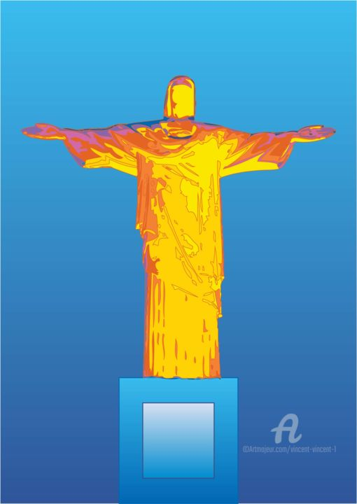 Rio 2016 Olympic: Unknown Christ the Redeemer - Mixed Media,  30x21x0.1 cm ©2016 by Vincent da Vinci -                                                                                                                                                                        Abstract Art, Figurative Art, Illustration, Pop Art, Paper, Abstract Art, Celebrity, Colors, History, Political figures, Religion, Spirituality, olympics, rio de janerio, brazil, christ, christ the redeemer