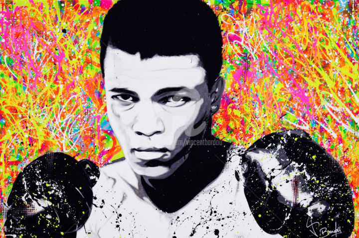 MOHAMED ALI - Painting,  31.5x47.2x1.6 in, ©2018 by vincent bardou -                                                                                                                                                                                                                                                                                                                                                                                                                                                                                                                                                                                                                                                                                                                                                                                                                                                                                                                                                                                                                                                                                              Figurative, figurative-594, Love / Romance, Animals, Performing Arts, Comics, Colors, mohamed ali, mohamed ali art, mohamed ali painting, muhammad ali art, muhammad ali painting, muhammad ali portrait, mohamed ali portrait, mohamed ali pop art, mohamed ali street art, mohamed ali graffiti, muhammad ali pop art, muhammad ali street art, muhammad ali graffiti, vincent bardou, tableau street art, tableau graffiti