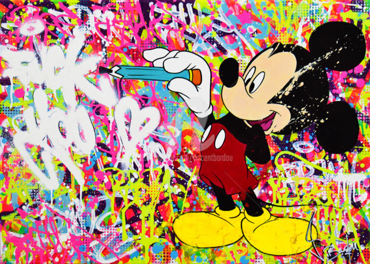 ARTIST MICKEY - Painting,  19.7x27.6x1.6 in, ©2019 by vincent bardou -                                                                                                                                                                                                                                                                                                                                                                                                                                                                                                                                                                                                                                                                                                                                                                                                                                                                                                                                                                                                                                                                                                                                                                                                                                                                                  Abstract, abstract-570, Wood, Cotton, Canvas, Love / Romance, Abstract Art, Comics, Fairytales, Colors, mickey art, mickey painting, mickey artwork, tableau mickey, mickey peinture, tableau disney, tableau street art, tableau graffiti, urban art, tableau pop art, mickey swag, mickey funny, vincent bardou, tableau contemporain, modern art, contempory art, bansky
