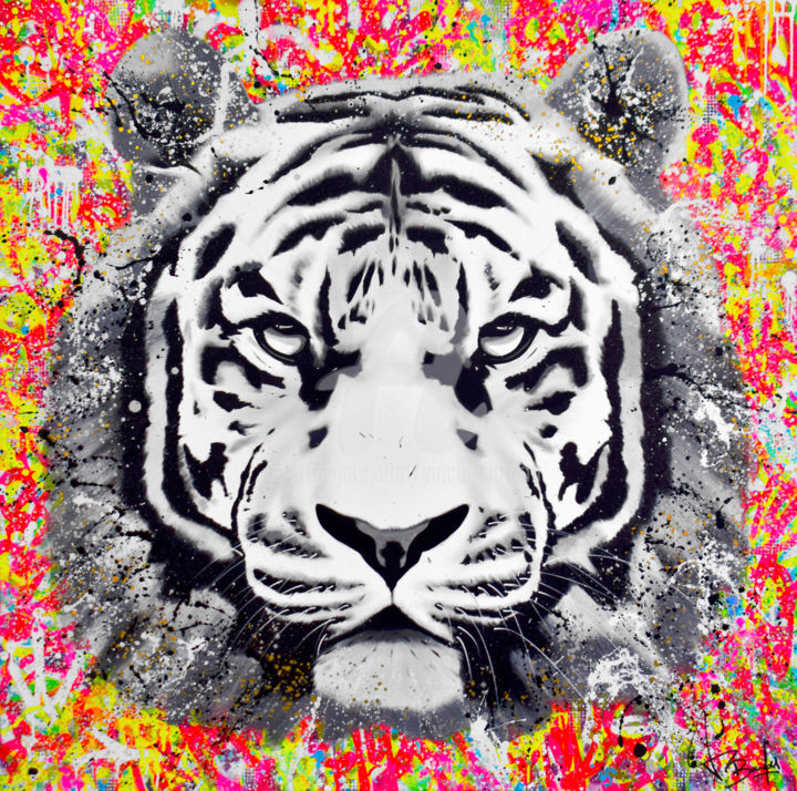 SAUVAGE OF NATURE - Painting,  47.2x47.2x1.6 in, ©2019 by vincent bardou -                                                                                                                                                                                                                                                                                                                                                                                                                                                                                                                                                                                                                                                                                                                                                                                                                                                                                                                                                                                                                                                                                                                                                                                                                                      Abstract, abstract-570, Wood, Cotton, Canvas, Love / Romance, Animals, Abstract Art, Performing Arts, Comics, tiger painting, tiger artwork, tiger art, tableau tigre, peinture tigre, tableau street art, tableau graffiti, artwork street art, artwork graffiti, graffiti art, urban art, vincent bardou, pop art, pop art painting, tableau pop art, contempory art