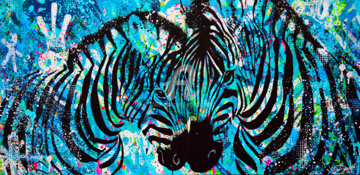 AMOUR - Painting,  19.7x39.4x1.6 in, ©2018 by vincent bardou -                                                                                                                                                                                                                                                                                                                                                                                                                                                                                                                                                                                                                                                                                                                                                                                                                                                                  Outsider Art, outsider-art-1044, Agriculture, Love / Romance, Animals, Architecture, Abstract Art, zebra pop, zebra painting, peinture zebre, tableau zebre, zebra art, zebre art, vincent bardou, graffiti, street art, horse art, ghorse painting