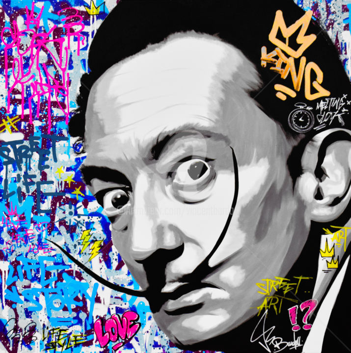 SALVADOR DALI - Painting,  31.5x31.5x1.6 in, ©2019 by vincent bardou -                                                                                                                                                                                                                                                                                                                                                                                                                                                                                                                                                                                                                                                                                                                                                                                                                                                                                                                                                                                                                                                                                                                                                                                                                                                                                                                                                                                                                                                                                                                                                                                                      Outsider Art, outsider-art-1044, Other, Cotton, Canvas, Love / Romance, Angels, Animals, Tree, Architecture, salvador dali, street art, graffiti, pop art, dali portrait, dali painting, dali graffiti, dali street art, dali pop art, vincent bardou, pop art painting, tableau pop art, tableau street art, tableau graffiti, graffiti painting, street art painting, contempory art, abstract art