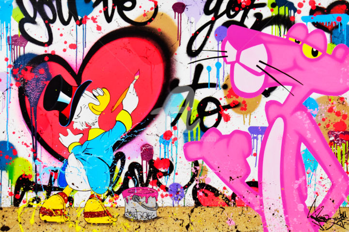 PINK PANTHER & PICSOU - Painting,  31.5x47.2x1.6 in, ©2019 by vincent bardou -                                                                                                                                                                                                                                                                                                                                                                                                                                                                                                                                                                                                                                                                                                                                                                                                                                                                                                                                                                                                                                                                                                                                                                                                                                                                              Street Art, street-art-624, Love / Romance, Abstract Art, Comics, Cartoon, Portraits, pink panther, pink panther art, pink panther painting, pink panther artwork, pink panther artist, pink panther graffiti, pink panther street art, pink panther pop art, pink panther peinture, panthere rose, panthere rose art, panthere rose tableau, panthere rose peinture, panthere rose artiste, panthere rose peintre, panthere rose wallpaper, panthere rose street art, panthere rose graffiti, panthere rose pop art, panthere rose galerie