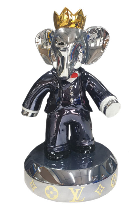 Babolex Louis Vuitton Noir Socle Titane 60 cm - Sculpture,  23.6x9.8 in, ©2019 by vincent Faudemer -                                                                                                                                                                                                                                                                                                                                                                                                                                                                                                                                                                                                                                                                                                                                                                                                                                                                                                                                                                                                          Street Art, street-art-624, Other, Animals, Comics, Cartoon, babolex, vincent faudemer, babar, sculpture, supreme, gucci, chanel, caen, chrome, gold, argent, luxe, resine, dior, Jean Paul Gauthier