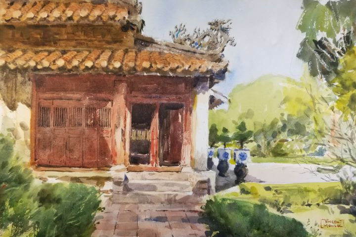 """Painting titled """"Imperial City 03 -…"""" by Vincent Monluc, Original Art, Watercolor"""