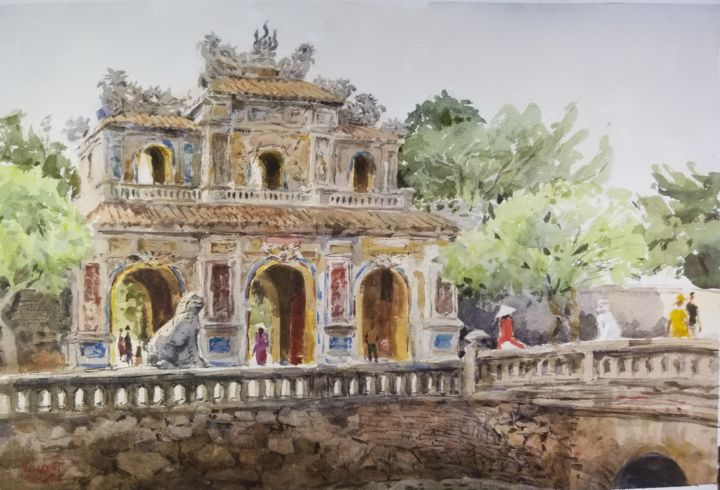 """Painting titled """"Imperial City Entra…"""" by Vincent Monluc, Original Art, Watercolor"""