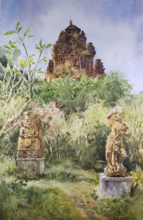 """Painting titled """"Nhan Tower,  last r…"""" by Vincent Monluc, Original Art, Watercolor"""