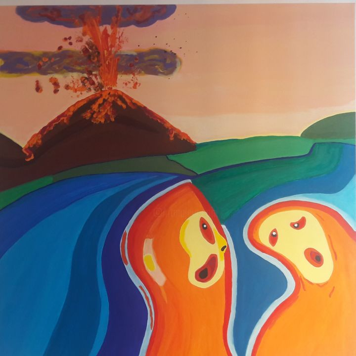 """Painting titled """"Tempesta di Passioni"""" by Vincent The Voice, Original Art, Acrylic Mounted on Wood Panel"""
