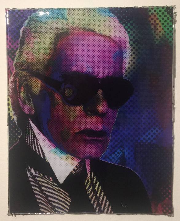 KL - Mixed Media,  62x51x2 cm ©2017 by Vincent VerSus Sabatier -                                                                    Pop Art, Pop Culture / celebrity, Fashion, Portraits, KL, karl lagerfeld, mode, pop, popart, vincent sabatier, chanel