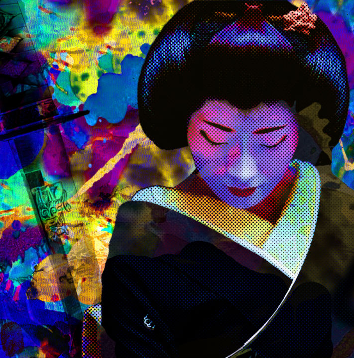 FORCE ET DOUCEUR III - © 2013 geisha, samurai, popart, pop, japon, asie, vincent sabatier Online Artworks