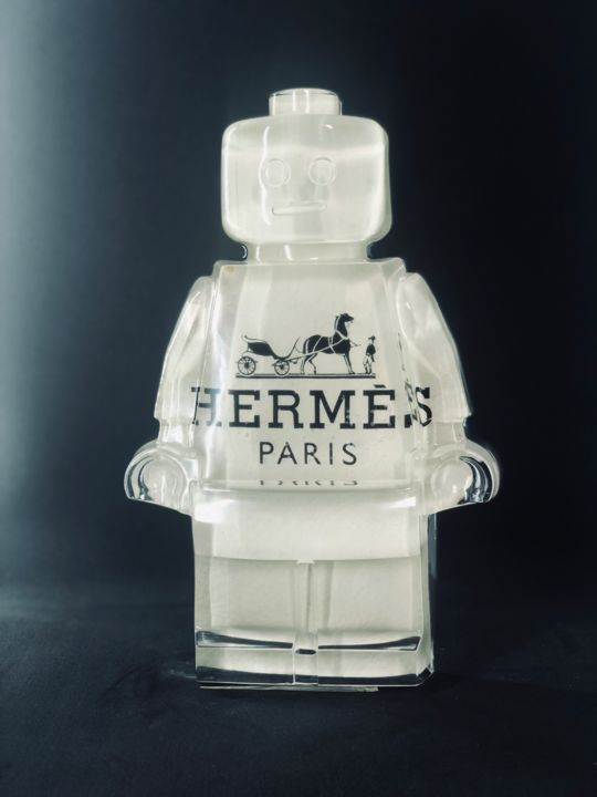 legoclusion N°57 HERMES blanc cuir - Sculpture,  25x16x5 cm ©2019 by Vincent VerSus Sabatier -                                                                                                            Pop Art, Other, Culture, Pop Culture / celebrity, Celebrity, Kids, Fashion, legoclusion, legolove, legoart, legodisco, legoartist, mode, fashion, hermès, HERMES, kissthe pop, sabatier, Vincent VerSus Sabatier, VerSus, neopop, popart, lego