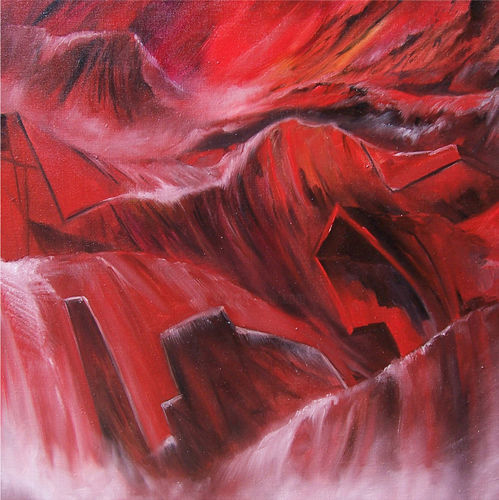 """Painting titled """"In red"""" by Vinci, Original Art, Oil"""