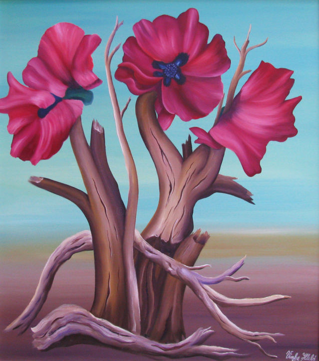 Poppy flower fantasy - Painting,  95x90x2.5 cm ©2019 by Vinko Hlebs -                                                                                                Contemporary painting, Canvas, Fantasy, Flower, Nature, Tree, surreal, fantasticrealism, . contemporarypainting, colors, flower, symbolism