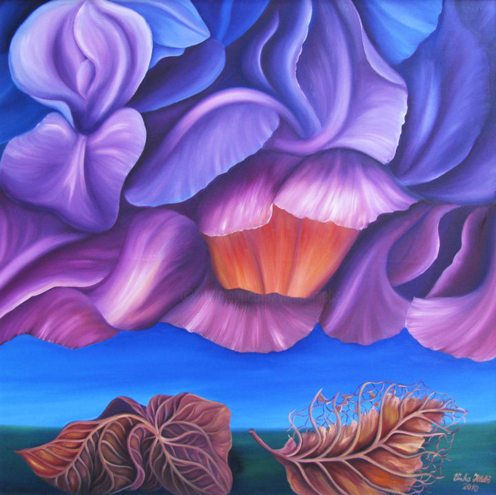 Autumn fantasy - Painting,  39.4x43.3x1 in, ©2010 by Vinko Hlebs -                                                                                                                                                                                                                                                                                                                                                                                                                                  Colors, Fantasy, Flower, Nature, fantasy, surreal, modernart, contemporaryart, oiloncanvas