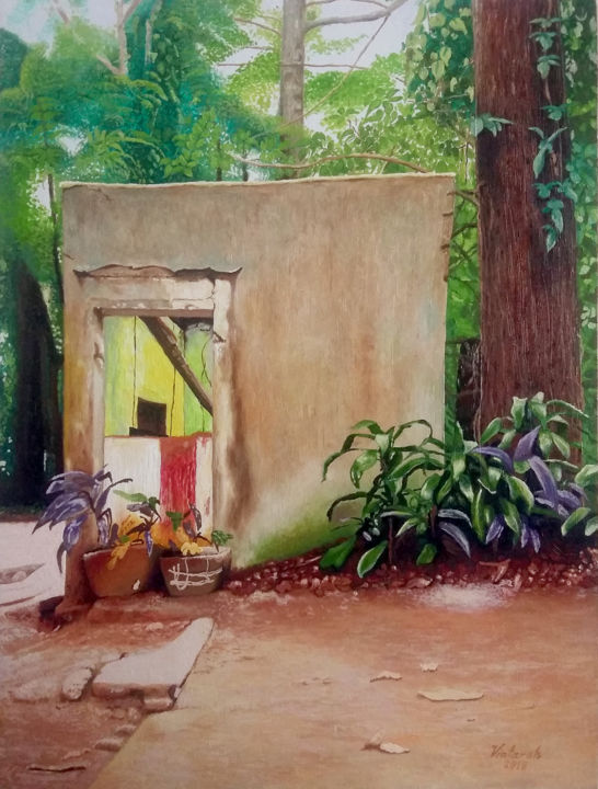 """Painting titled """"Ticket Booth Ruins"""" by Vintarah, Original Art, Oil"""
