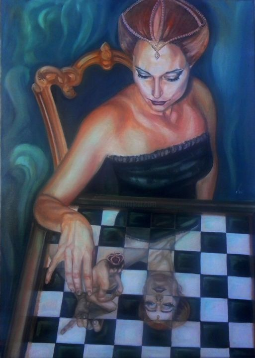 Femme fatale - Painting,  27.6x19.7 in, ©2013 by Vio -                                                                                                                                                                                                                          Surrealism, surrealism-627, Women, chess femme fatale chessing woman woman surrealism