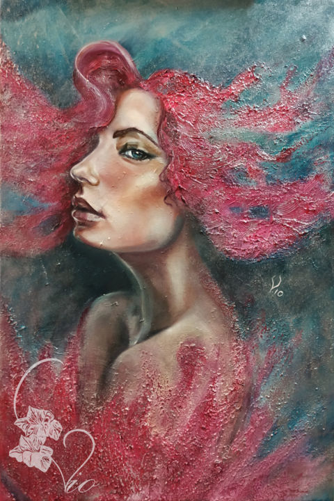 Born of Venus - Painting,  23.6x15.8x0.6 in, ©2019 by Vio -                                                                                                                                                                                                                                                                                                                                                                                                                                                                                                                                              Surrealism, surrealism-627, Women, Nature, mithology, Venus, coral, portrait, woman, face, pink