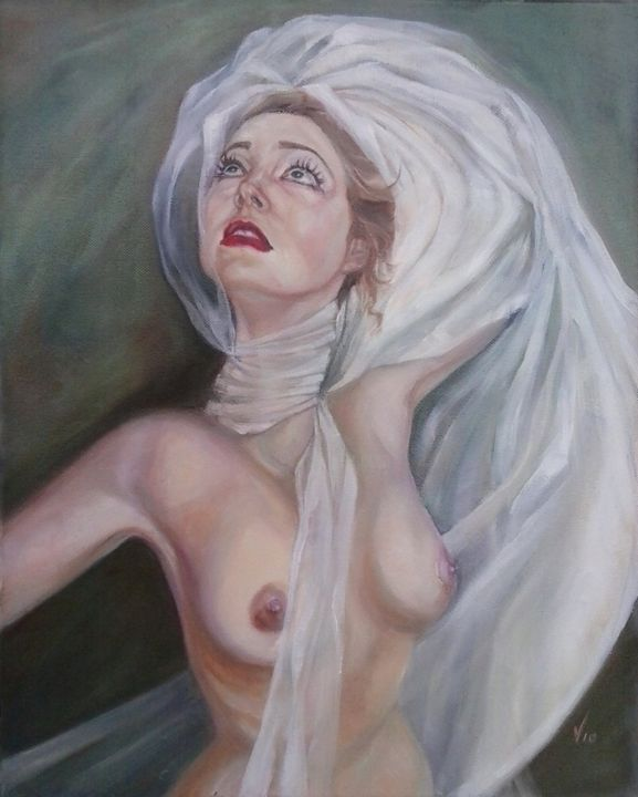 Till the end of time - Painting,  19.7x15.8x0.6 in, ©2014 by Vio -                                                                                                                                                                                                                          Surrealism, surrealism-627, Women, nude woman akt veil bride wedding
