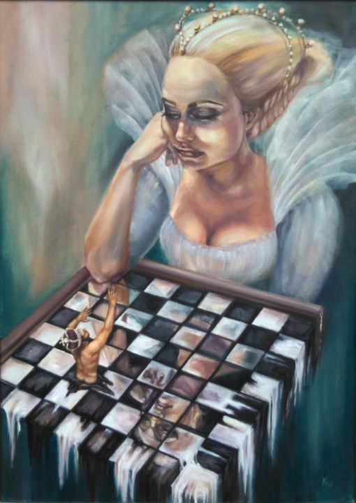"""Painting titled """"Game over"""" by Vio, Original Art, Oil"""