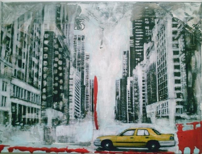 Town - Painting,  11.8x15.8 in, ©2010 by Virginie Duval -                                                              Town - Virginie Duval