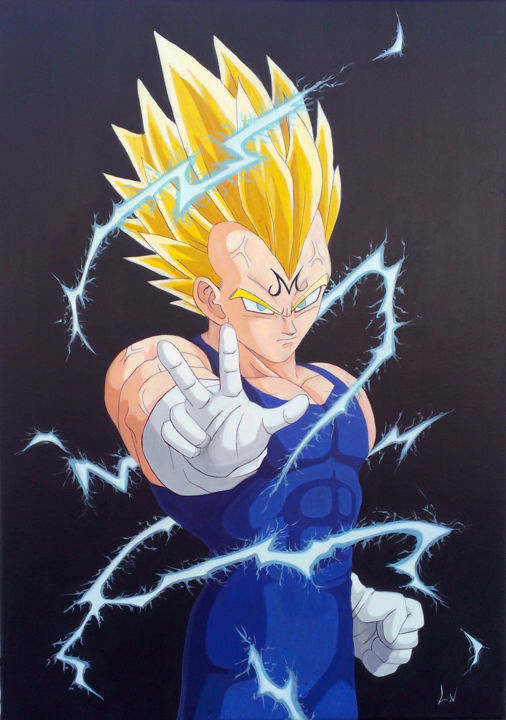 Majin Vegeta - Painting,  70x50 cm ©2017 by Virginie Lepelletier -                                                                                                                                                                                                                                                                                                                                                            Art Deco, Figurative Art, Illustration, Contemporary painting, Photorealism, Pop Art, Folk, Portraiture, Realism, Wood, Canvas, Asia, Comics, Cinema, Body, Colors, Culture, Pop Culture / celebrity, World Culture, Cartoon, Kids, Fantasy, Heroic-Fantasy, Men, Fashion, People, Portraits, toile, tableau, peinture, dessin, dragon ball, dbz, vegeta, majin, anime, manga, saiyan, saiyen, sangoku, gohan, personnage, dragon ball z, songoku