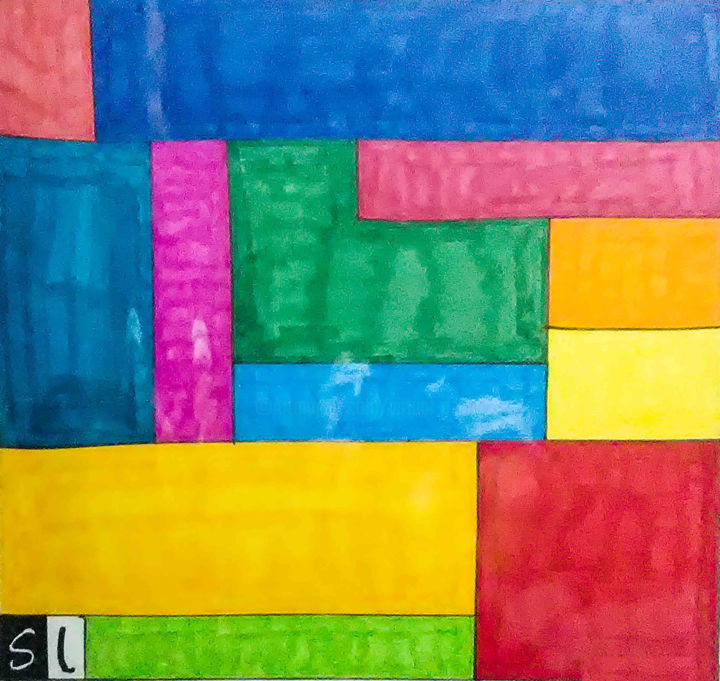Quad - Drawing,  12x12 in, ©2019 by Savant Artist -                                                                                                                                                                                                                                                                                                                                                              Abstract, abstract-570, Abstract Art, geometric, abstract, quad, blocks