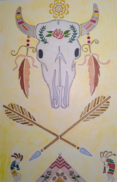 SWStyle - Drawing,  24x18 in, ©2020 by Savant Artist -                                                                                                                                                                                                                                                                                                                                                                                                          Abstract, abstract-570, Abstract Art, Kokopelli, Native Indian, teepee, cow skull, SouthWest