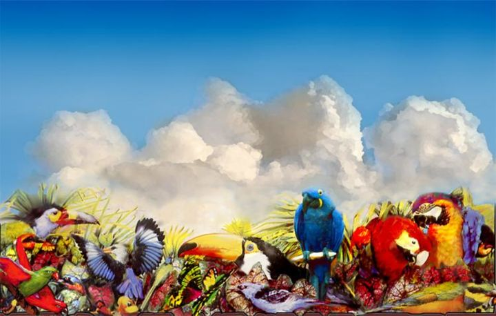 """Painting titled """"Wild birds from mur…"""" by Robert Anthony, Original Art, Oil"""