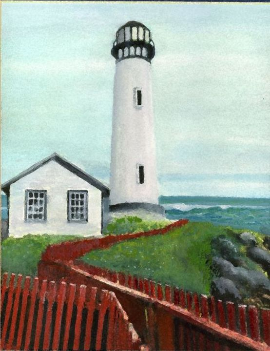 """Painting titled """"Lighthouse and Fence"""" by Robert Anthony, Original Art, Other"""
