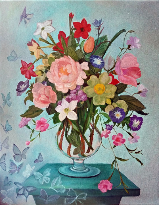 """Painting titled """"Bouquet for the bel…"""" by Viola Larkina, Original Art, Oil Mounted on Stretcher frame"""