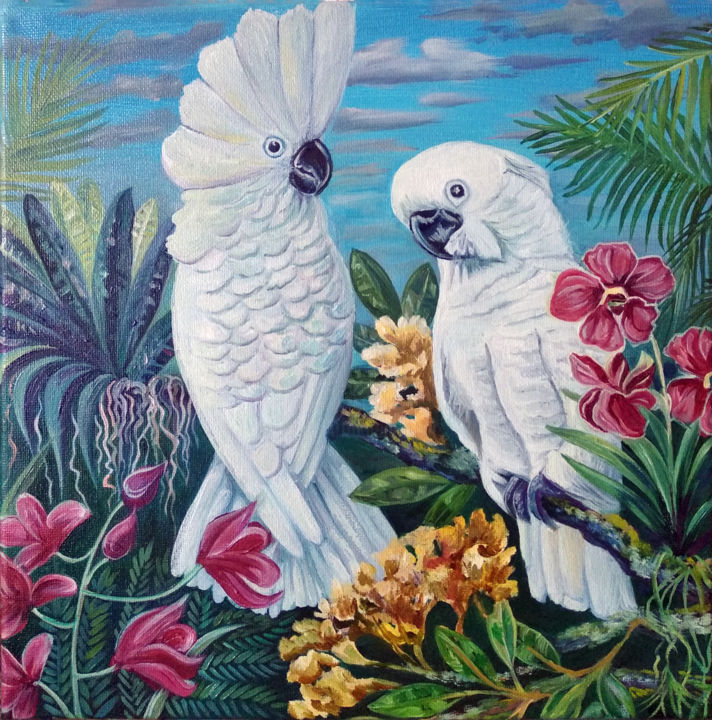 """Painting titled """"Pair of macaw parro…"""" by Viola Larkina, Original Art, Oil Mounted on Stretcher frame"""