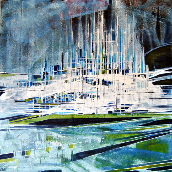 Urbano II - Painting,  31.5x31.5 in, ©2015 by Vitor Moinhos -                                                                                                                                                                                                                                                                                                                                                          Abstract, abstract-570, abstracto, azul, urbano, acrílico, moinhos