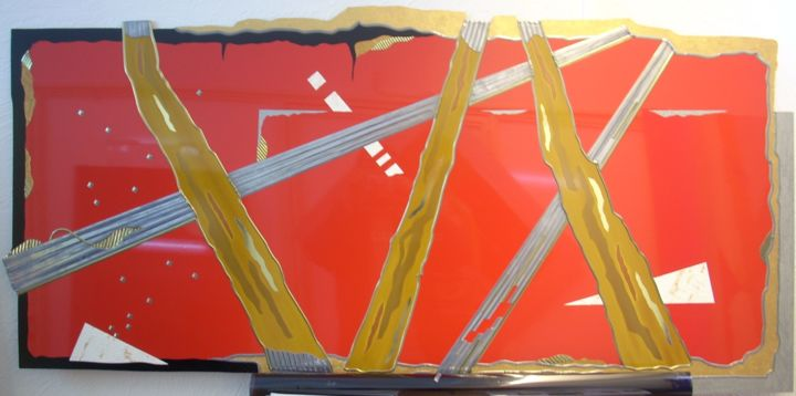 red-1.jpg - Painting,  70x130x1 cm ©2013 by Guy Laffont -                                                        Abstract Art, Aluminum, Abstract Art