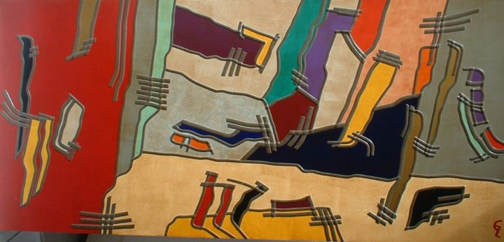 co-relations - Collages,  50x110x1 cm ©2005 by Guy Laffont -                                                            Abstract Art, Other, Abstract Art, contemporain