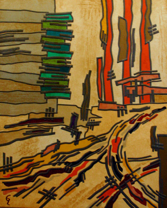 Nevada Heat - Painting,  80x60x2 cm ©2016 by Guy Laffont -                                        Abstract Art, Other