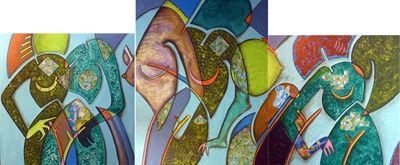Triptyque 552-553-551 - Painting,  31.5x94.5 in, ©2010 by Victor Valente -                                                                                                                                                                                                                                                                  Expressionism, expressionism-591, collages, anthropomorphe, déformation