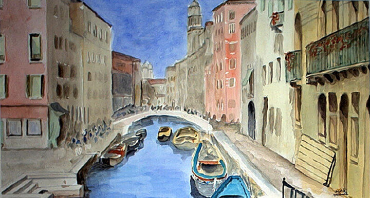 sans titre n104 - Painting,  13.4x23.6 in, ©2001 by Victor Valente -                                                                                                                                                                                                                                                                                                              Figurative, figurative-594, venise, venezia, barnaba, canal