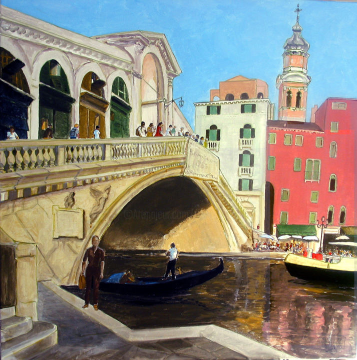 Sans titre n175 - Painting,  90x90x2 cm ©2003 by Victor Valente -                                                            Figurative Art, Canvas, Travel, venise, venezia, rialto