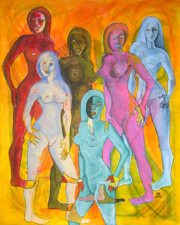 Sans titre n370 - Painting,  100x80x3 cm ©2007 by Victor Valente -                                                            Figurative Art, Canvas, Colors, femme, silhouette, couleur